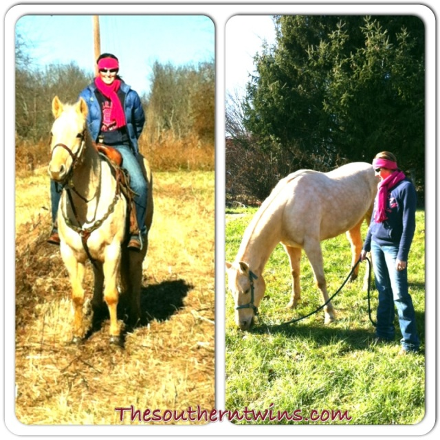 Leigh and one of her barrel horses, Girlfriend