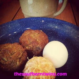 Paleo Banana Bread Muffins, hard boiled egg, orange and coffee